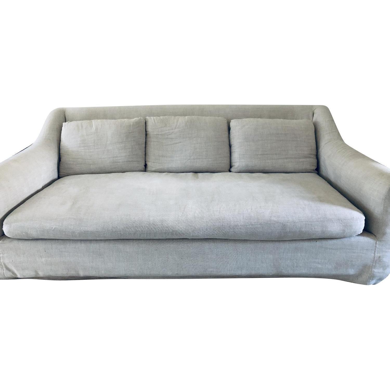 Restoration Hardware Belgian Roll Arm Slipcovered Sofa