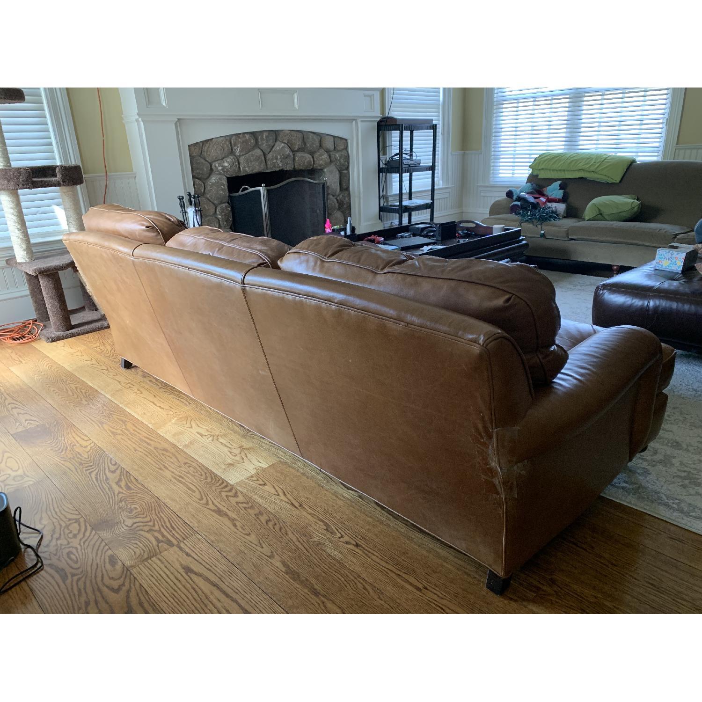 Restoration Hardware English Leather Roll Arm Sofa Aptdeco