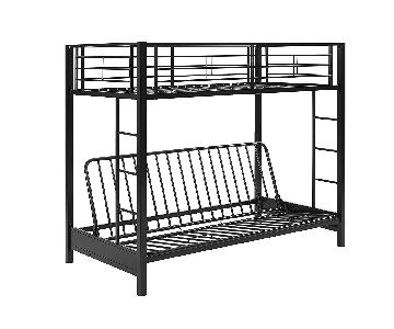 DHP Furniture Gray Metal Twin Over Futon Bunk Bed