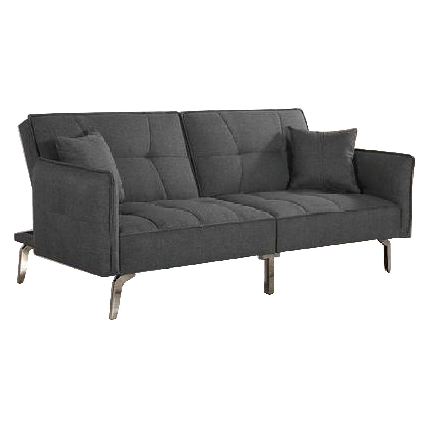 Dark Grey Fabric Tufted Sleeper Sofa