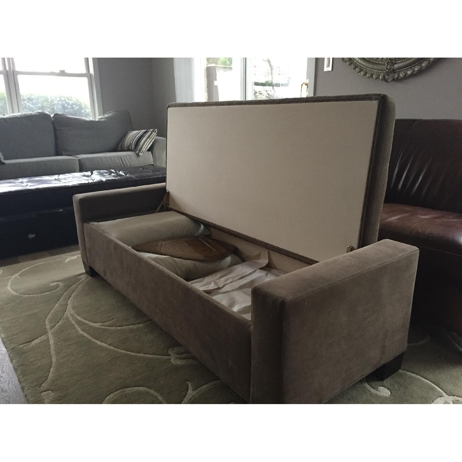 Crate & Barrel Brown Tufted Daybed/Storage Bench-0