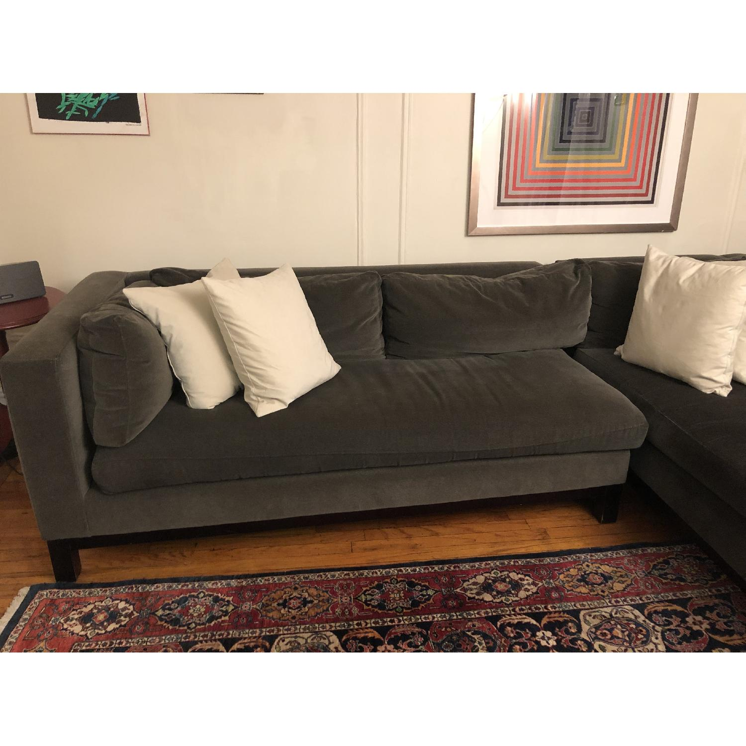 Crate Barrel Charcoal Sectional Sofa 0