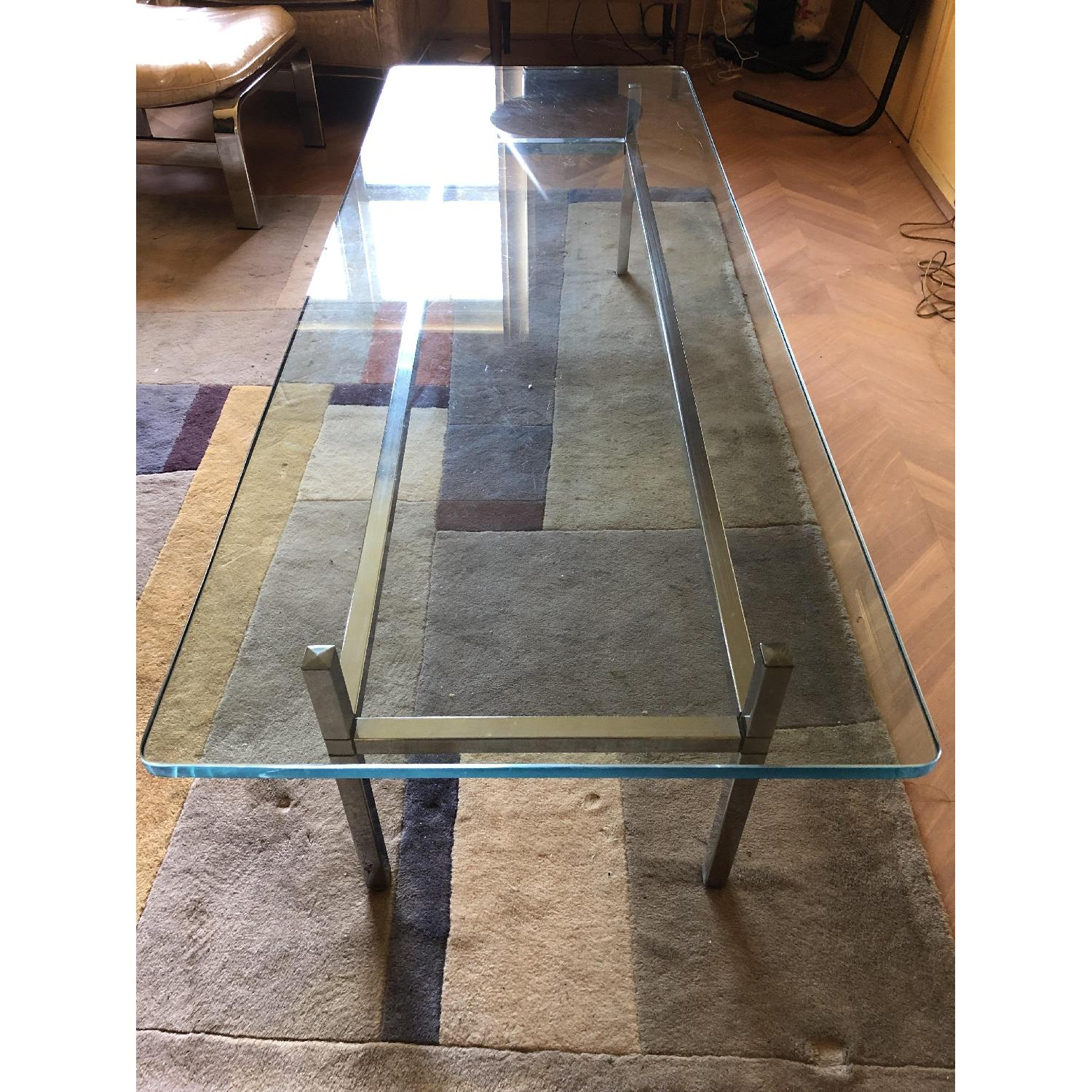 Vintage Mid Century Chrome Glass Coffee Table
