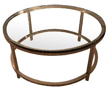CB2 Smart Round Glass Coffee Table