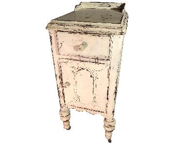Shabby Chic Side Table w/ Storage Cabinet & Drawer