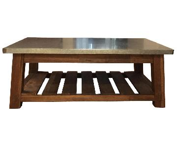 Pottery Barn Galvanized Metal & Teak Coffee Table