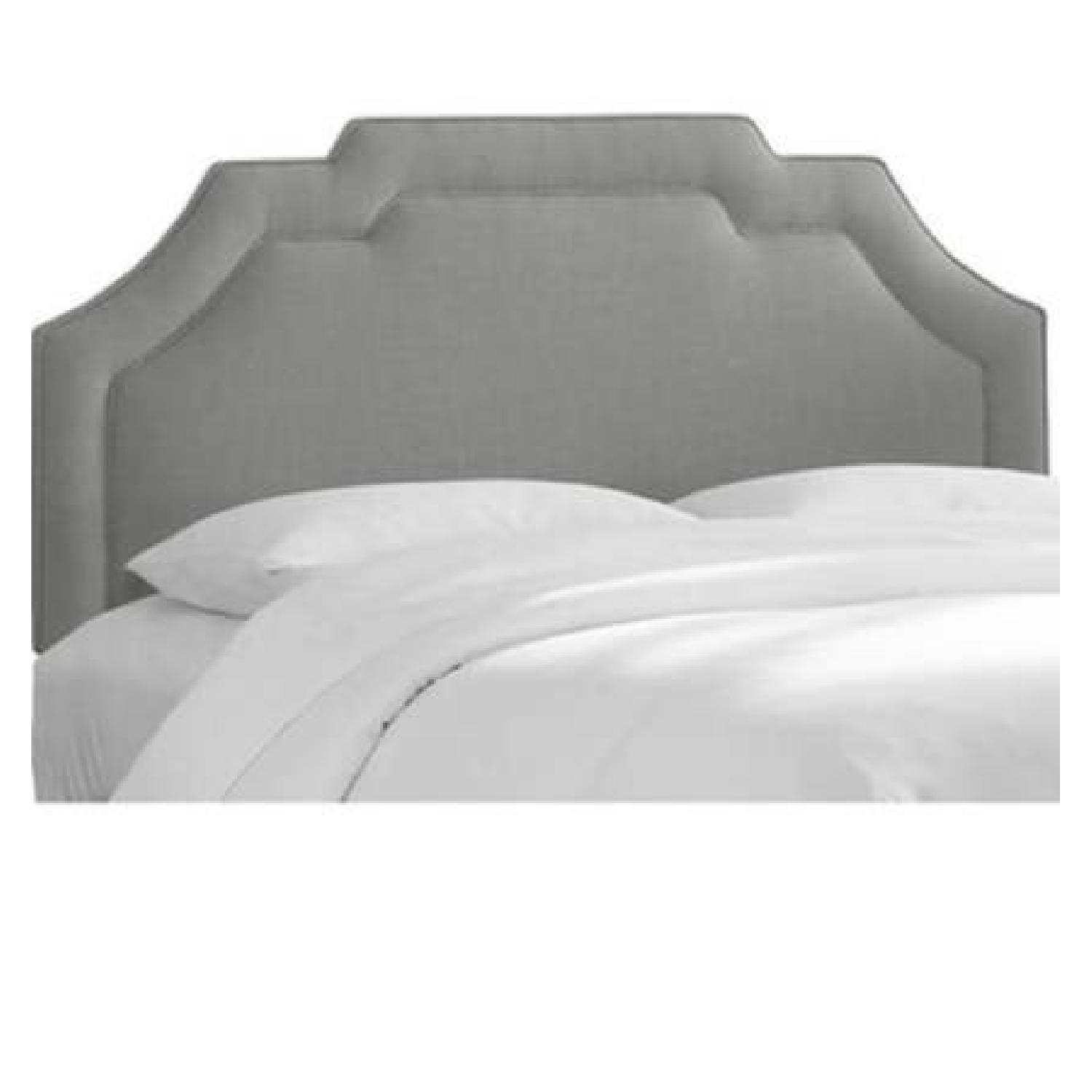 Queen Upholstered Gray Notched Headboard