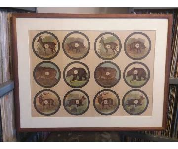 Rustic Antique Hunting/Animals Framed German Print