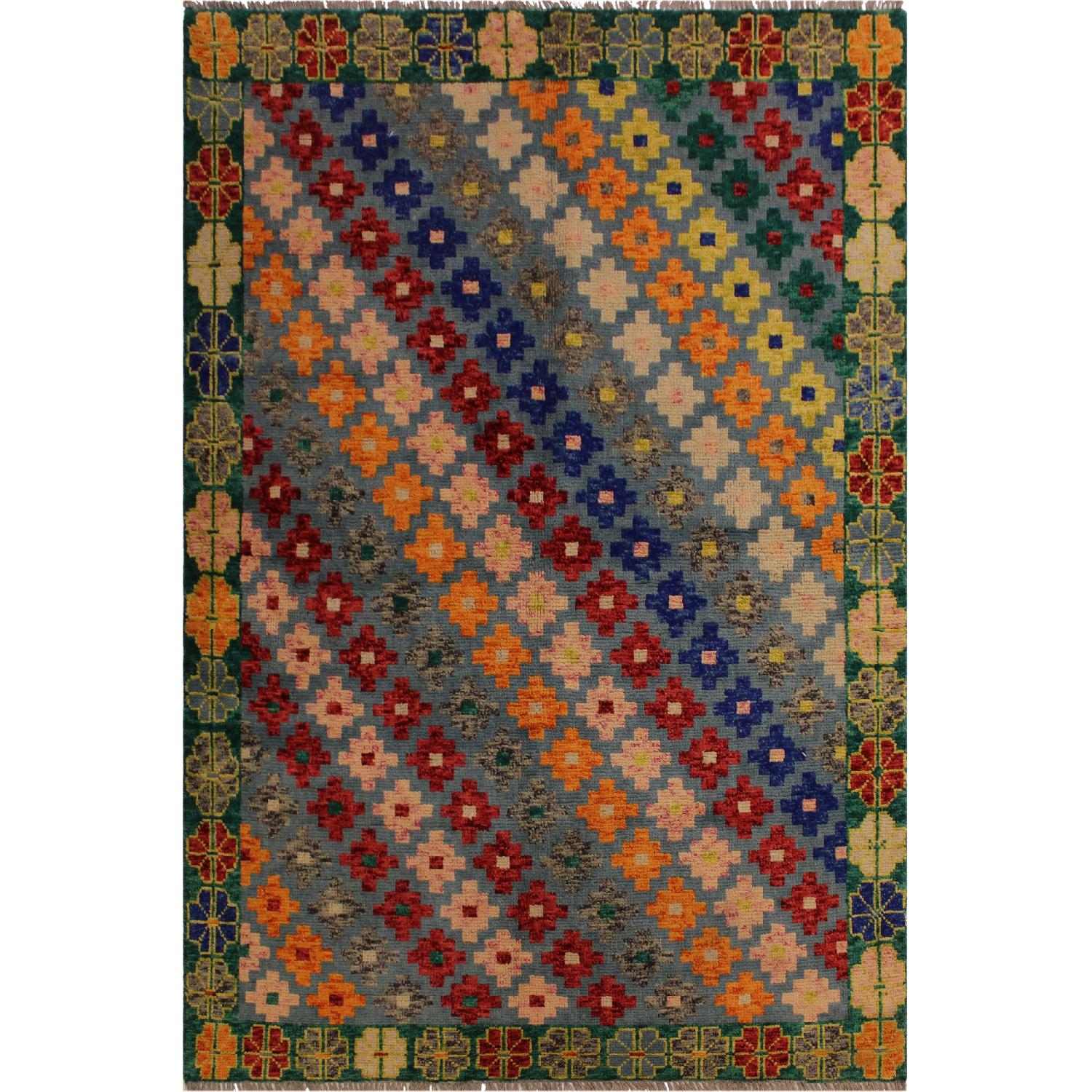 Arshs' Fine Rugs Balouchi Francois Gray/Green Wool Rug