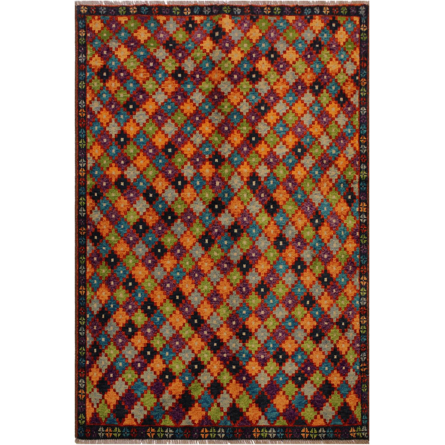 Arshs' Fine Rugs Balouchi Frederic Black/Orange Wool Rug