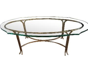 French Maison Bageus Vintage Bronze Glass Coffee Table