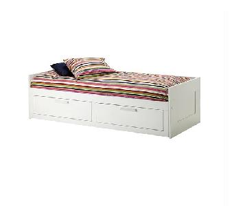 Ikea Brimnes White Daybed w/ Trundle & 2 Drawers