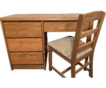 Oak Desk & Chair
