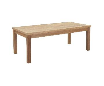 Manhattan Home Outdoor Patio Teak Rectangle Coffee Table