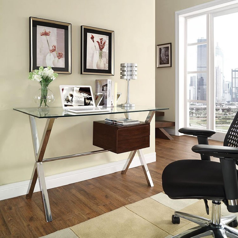 Manhattan Home Design Modern Glass Top Office Desk in Walnut