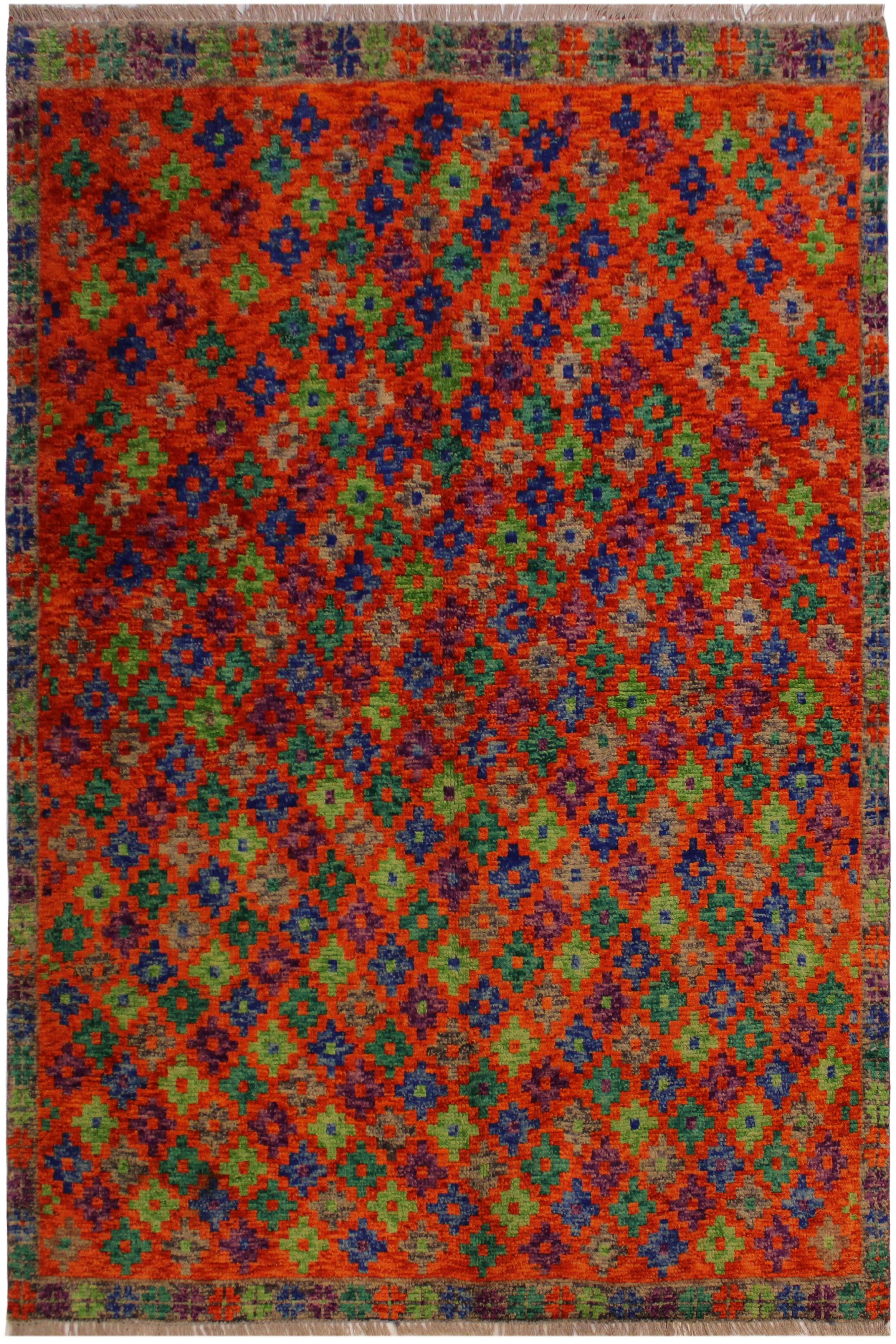 Arshs' Fine Rugs Balouchi Georgett Orange/Green Wool Rug