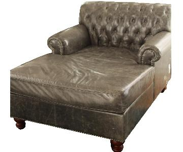Custom French Grey Tufted Chaise w/ Nailhead Trim