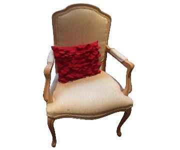 Macy's Cream Silk/Light Wood Frame Queen Anne Side Chair