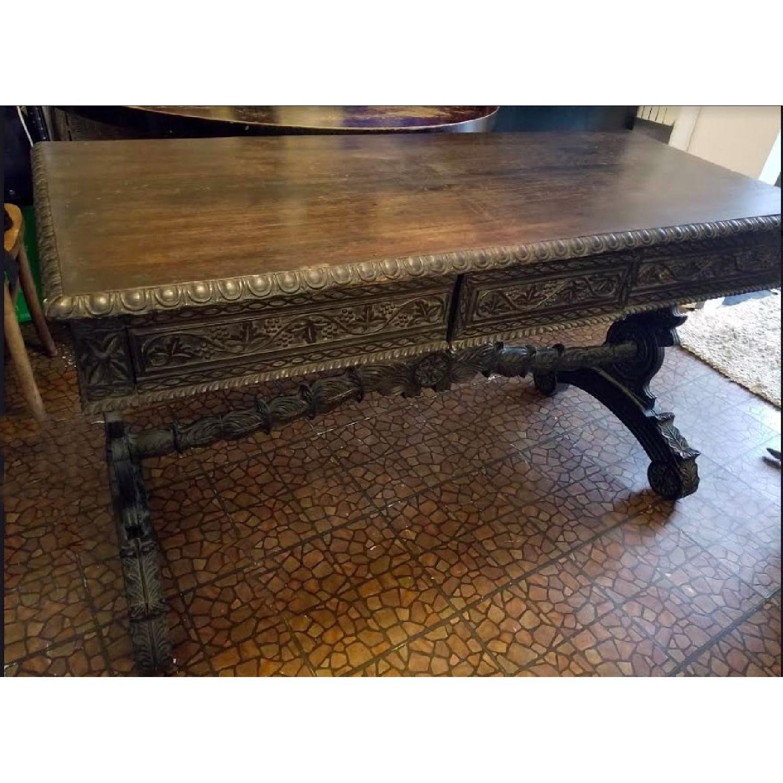 Spanish Revival Writing Desk w/ 3 Drawers-0