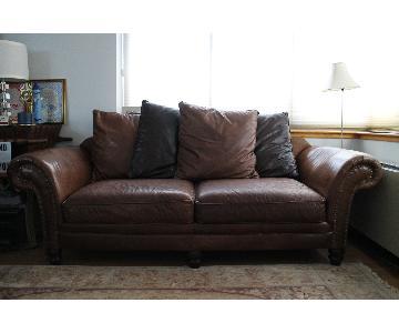 Vintage Bernhardt Bridgewater Style Leather Sofa & Ottoman
