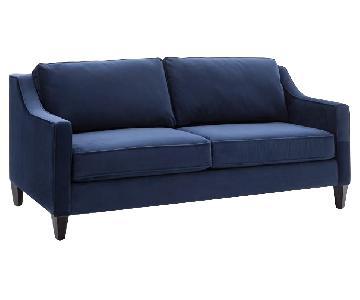 West Elm Paidge Sofa in Performance Velvet Ink Blue