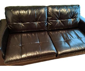 Dark Brown Bonded Leather Full Size Sleeper Sofa