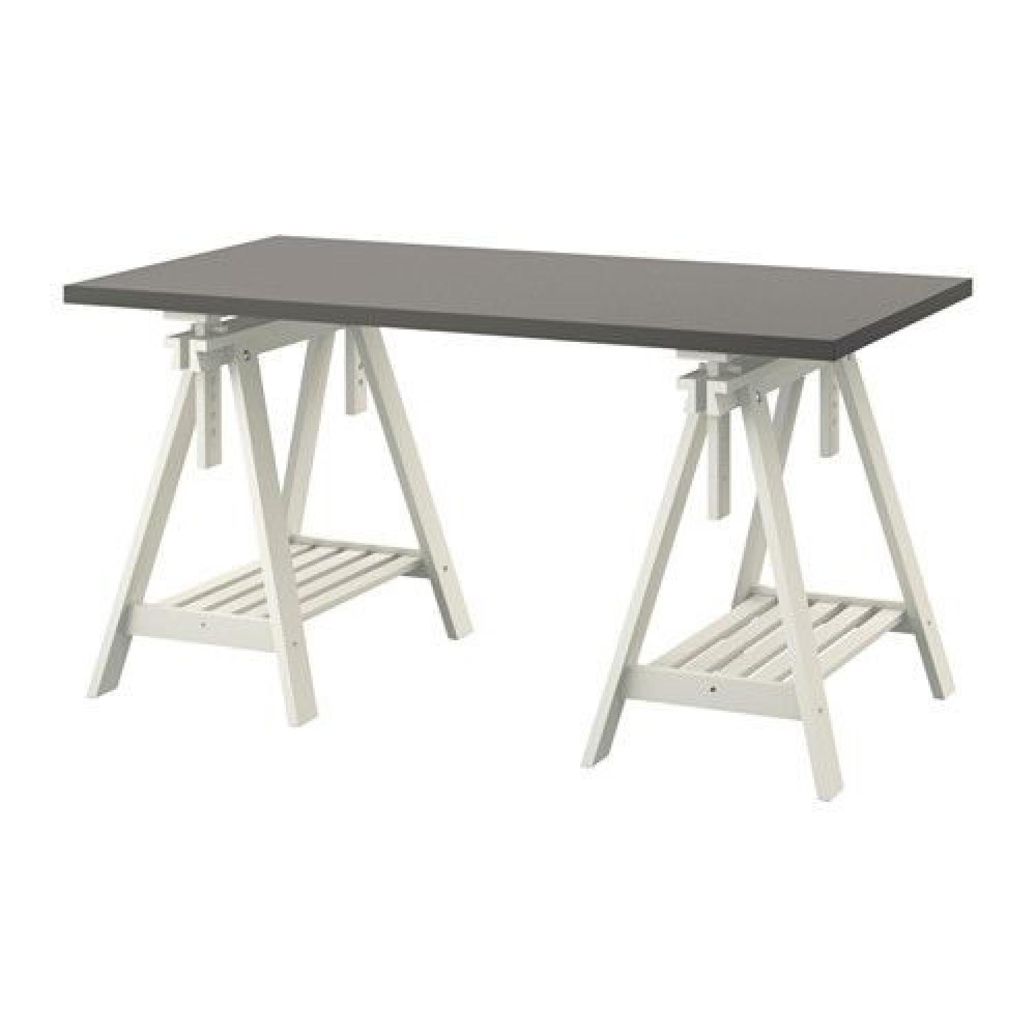Ikea Grey Top Dining Table w/ Adjustable Trestle Legs