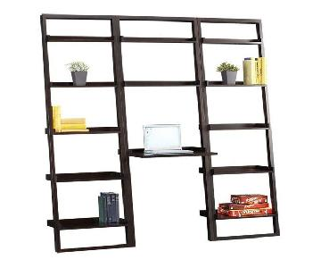 Crate & Barrel Mocha Leaning Bookcase w/ Desk