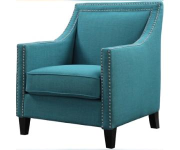 Studded Armchair in Teal Green