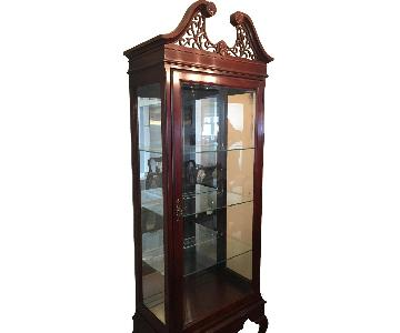 Vintage Queen Anne Style Lighted Display Cabinet