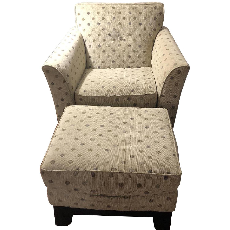 Rowe Polka Dot Green Beige Modern Arm Chairs & Ottoman - AptDeco
