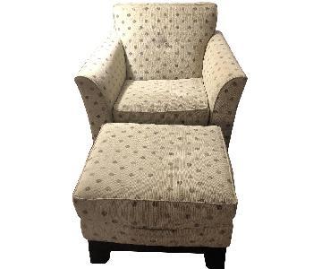 Rowe Polka Dot Green Beige Modern Arm Chairs & Ottoman