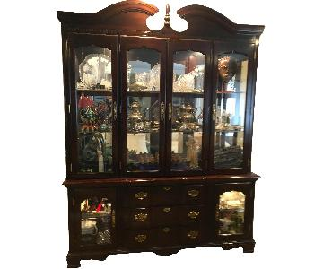 Vintage Queen Anne Style Lighted China Cabinet