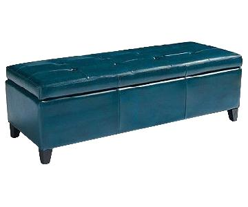 GrandinRoad Storage Ottoman in Teal Bonded Leather
