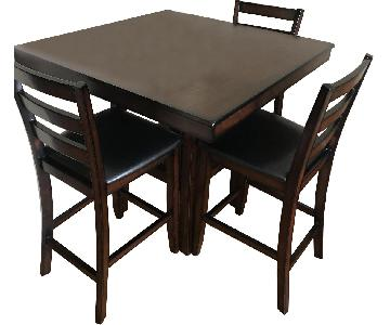Living Spaces Wood Counter Height Table w/ 4 Stools