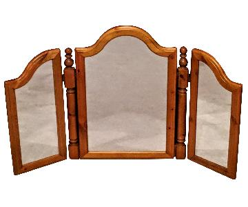 Vintage Ducal Wood Frame Tri Fold Mirror