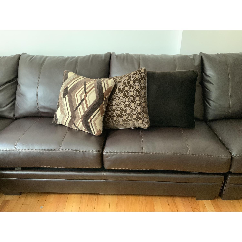 Brown Leather 3-Piece Queen Sleeper Sectional Sofa - AptDeco