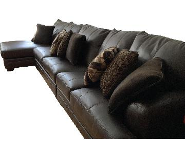 Brown Leather 3-Piece Queen Sleeper Sectional Sofa