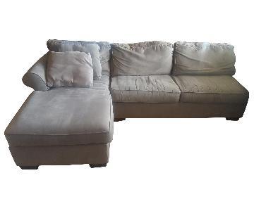 Bauhaus Suede Sleeper Sectional Sofa