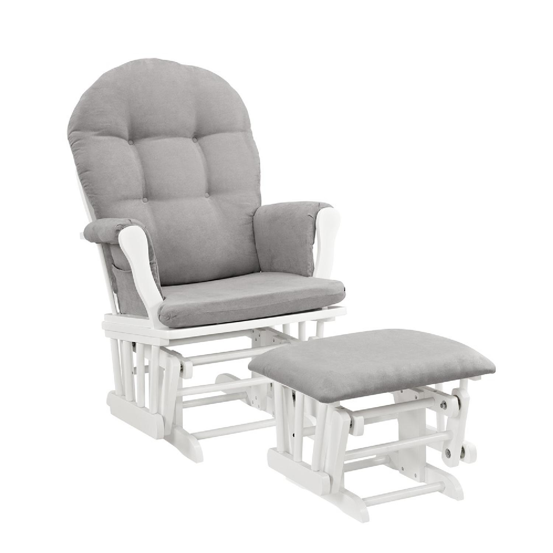 Windsor Glider & Ottoman in White w/ Gray Cushion