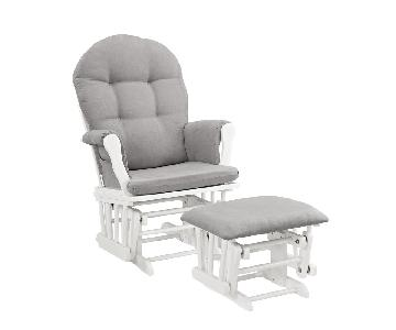Windsor Glider & Ottoman in White w/ Gray Cushion
