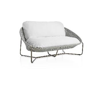 Crate & Barrel Morocco Light Grey Patio Loveseat + 2 Chairs