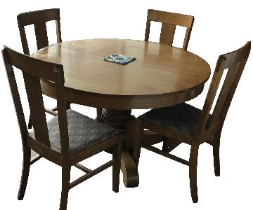Antique Oak Pedestal Dining Table w/ 6 Chairs
