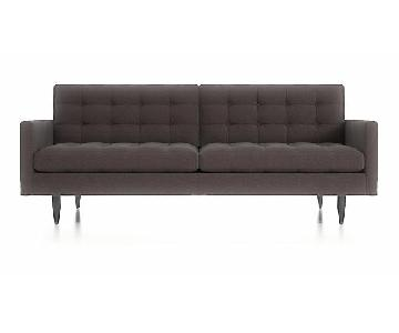 Crate & Barrel Petrie Mid Century Dark Grey Sofa
