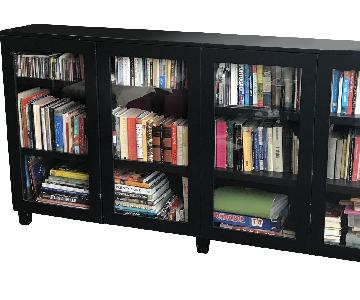 Custom Black Bookcase w/ Glass Doors