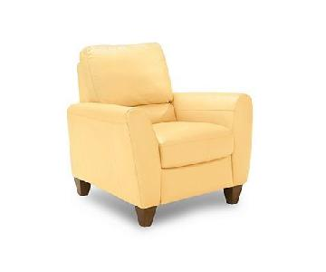 Macy's Amalfi Yellow Leather Recliner & Ottoman