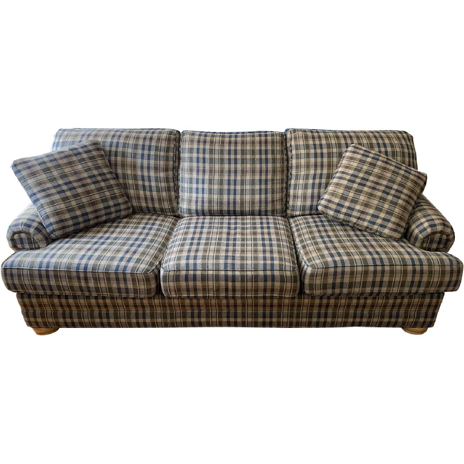 Plaid Upholstered 3 Seater Sofa
