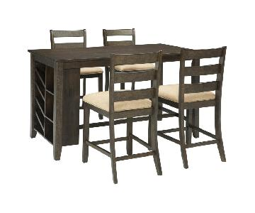 Ashley Rokane Counter Height Dining Table w/ 4 Chairs