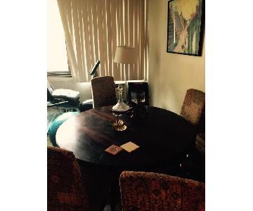 Mahogany Round Wood Table w/ 4 Italian Fabric Chairs