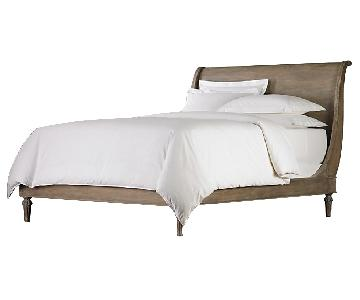 Restoration Hardware Sleigh Queen Bed in Antiqued Grey